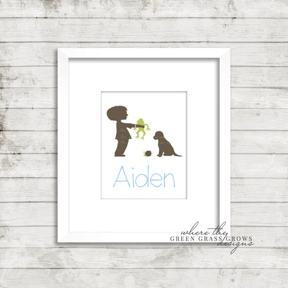 Personalized Boy Frog Snails and Puppy Dog Tails 8x10 Print, Nursery wall art, Nursery art, boy nursery art, baby boy art, boy bedroom art