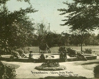 Peoria Illinois Antique Postcard Fountain Glen Oak Park 1909 Flag Cancel – Folks Enjoying The Day