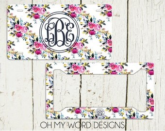 monogram car tag set personalized license plate monogram car tag monogrammed license plate - Monogram License Plate Frame