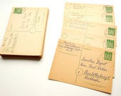 Reduced. Set of 5 VINTAGE German POSTCARDS. Postmarked in the 1950s.