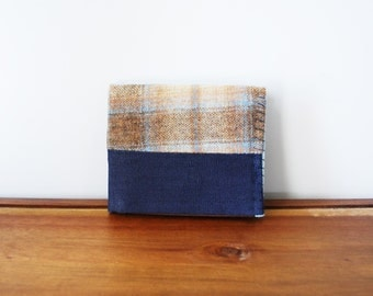Upcycled Tan and Blue Plaid Wool, Navy Linen Bifold Wallet with Brown and Mint Interior