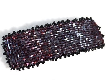 French Barrette Hair Clip - Black and Maroon - Barrette Hair Clip - 4 Inches