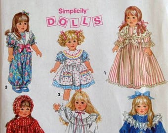 """Vintage – Pattern for Doll Clothes  - Wardrobe for 18"""" doll – Simplicity No. 8211"""