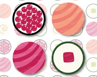 One Inch Circles Sushi bites for Scrapbooking, Collage, Bottlecaps, Party Decorations