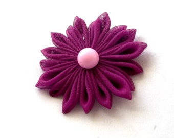Violet and Pink Fabric Hair Flower Chiffon Kanzashi Barrette