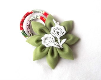 Unique Moss Green Hair Flower with White Lace and Black and Red Chirimen Crepe Cords Hair Clip