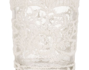 White Lace Wedding / Party Glass Votive Candle Holder