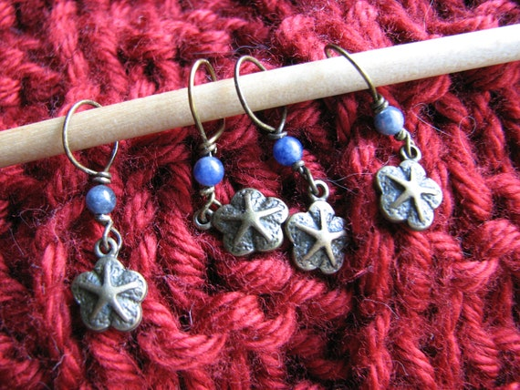 Decorative Knitting Stitch Markers : Starfish charm stitch markers knitting crochet dumortierite quartz ...