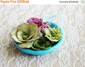ON SALE Felt succulent garden / faux garden / faux succulent / felt plant / wedding favor / home decor