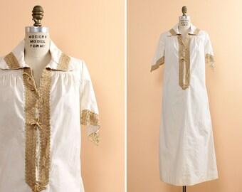 Creme Dress XS/S  • 70s Dress • Angel Sleeve Dress • Cotton Dress • Shift Dress • Collared Dress • White Cotton Dress • Bohemian Dress |D366