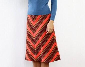 Electric Chevron Skirt S • 70s Skirt • Knit Skirt • Orange Skirt • Striped Skirt • A Line Skirt • Flared Skirt • Elastic Waist Skirt | SK767