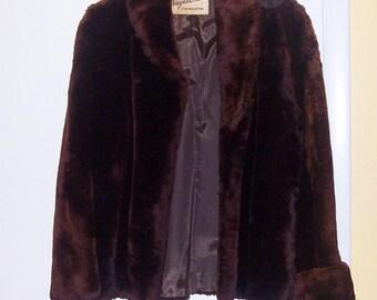 Vintage SARAH COVENTRY Douglas Furs Faux FUR Hip-Length Jacket Coat *Size 8 * Rare