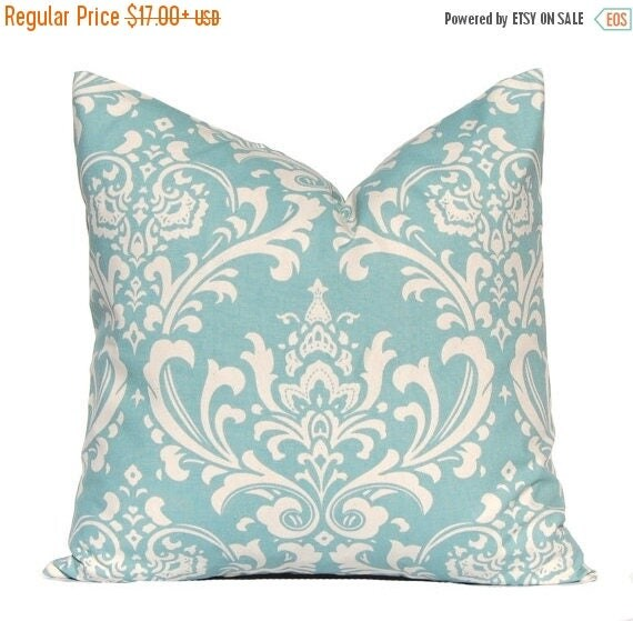 30% Off Sale Decorative Pillow Covers, Village Blue Pillow Cover, Blue Pillows, Throw Pillow Cover, Damask Village  Blue Cushion Covers Blue