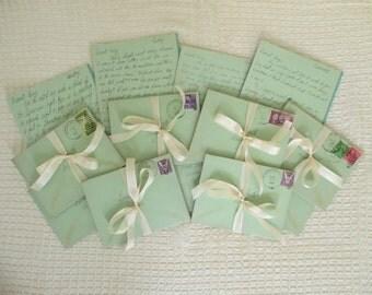 Vintage Handwritten Love Letters - 1940's - Sweetheart Ephemera - High School Sweethearts - 4 in Lot - Mixed Media, Altered Art