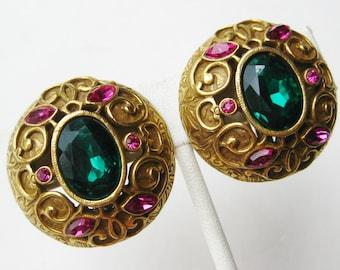 Vintage 60s Florenza Style BIG Gold Rhinestone Jeweled Clip Earrings