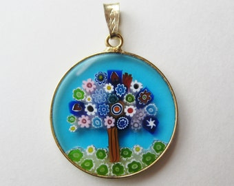 Vintage Italian Art Glass Millefiori Tree Gold Vermeil Sterling Silver Necklace Pendant