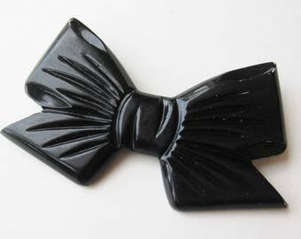 Vintage 40s Carved Black Lucite Ribbon Bow Tie Brooch Pin