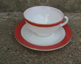 pyrex pink flamingo gold rimmed milk glass teacup saucer mid century kitchen