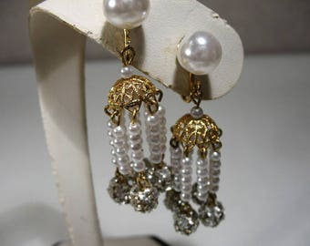 Vintage Ear Clips with Pearl Drops and Rhinestones