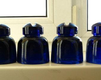Set of 4 cobalt blue old vintage glass insulators