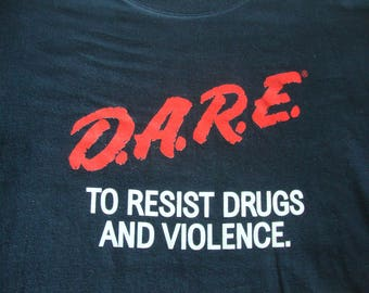 Vintage 90's DARE just say no to drugs and violence punk rock party beer black T Shirt L