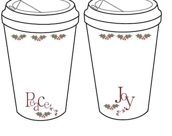 Crochet Christmas Holiday Coffee Cup Cozy  To Go Cup Template Inserts Printable Holder PDF only