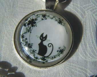 Black Cat on the Moon Pendant Photo Glass Necklace