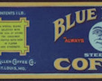 1920s Vintage Coffee Can Blue Moon Original Scarce Label St Louis MO Kitchen Decor