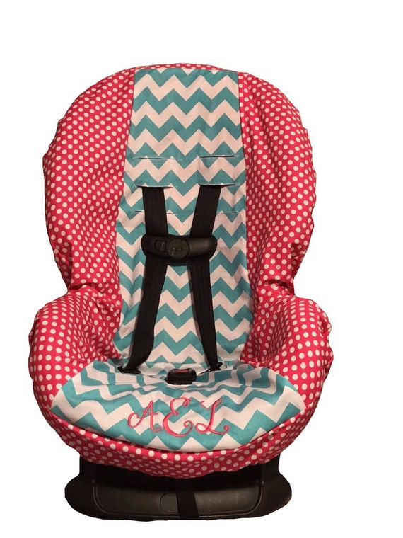 items similar to pink polka dots aqua chevron toddler baby car seat cover with free name. Black Bedroom Furniture Sets. Home Design Ideas