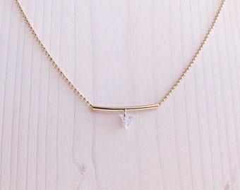 Tiny Gemstone Necklace | Tiny Bar Necklace | Gold Tiny Bar Necklace | Tiny Gold Bar Necklace | Simple Necklace | Everyday Necklace