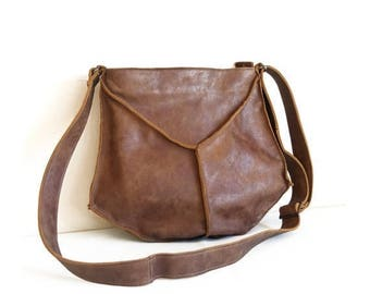 Leather Messenger bag, crossbody bag in brown, Small leather crossbody bag, Leather purse crossbody for women, brown crossbody leather purse