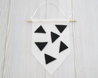 Felt flag , wall hanging , black and white wall art , black and white room , kids room decor