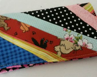 Hand Pieced Checkbooks Cover Adorable Coupon Holder Clutch Purse Billfold Ready-Made
