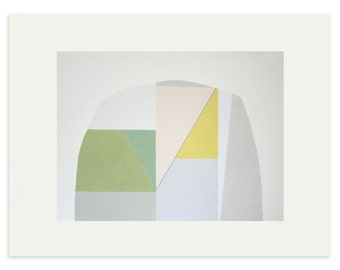 Large abstract colorblock geometric original screenprint on Fabriano Rosaspina by Emma Lawrenson