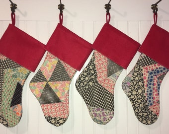 Family Set of 5 Vintage Patchwork Quilt Christmas Stocking with Red Cuff Shabby Cabin Farmhouse Country Christmas
