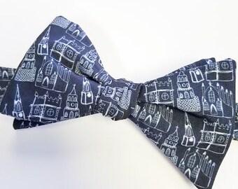 Church Steeples Bow Tie, Men's Bow Tie, Black Bow Tie, Charleston Bow Tie, Adjustable Bow Tie, Self-tie Bow Tie, Pre-tied Bowtie