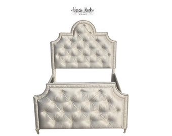 Diamond Tufted Bed Upholstered Bed Headboard All Sizes Any Fabric Crysta Button Nail Head Trim, Any Height King Queen Twin BY CUSTOM ORDER