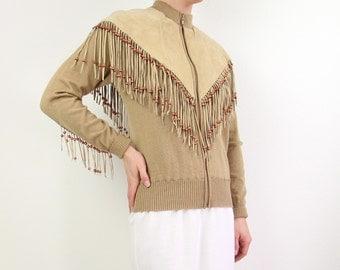 VINTAGE Fringe Jacket Suede Western Sweater