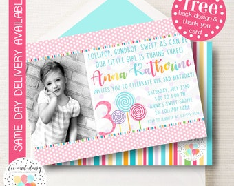 Lollipop Birthday Invitation, Lollipop Invitation, Lollipop Party, Girl First Birthday, Girl Birthday, Lollipop Invite, Candy Party