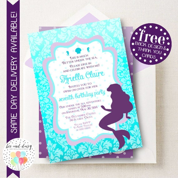 Little Mermaid Invitation Little Mermaid Birthday Invitation