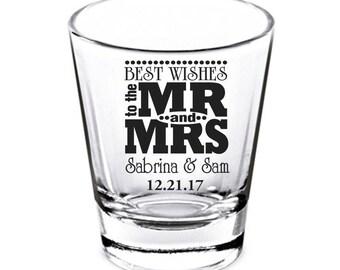 Wedding Shot Glasses - Wedding Favors - Party Favors - Shot Glasses - Best Wishes - Bachelorette Party - Custom Shot Glasses