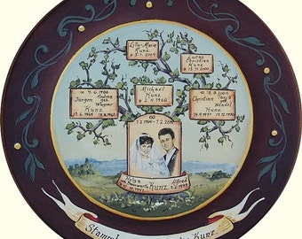 Custom Family Tree Plates - hand painted wooden plate family tree with portrait painting