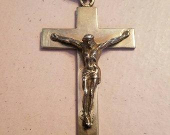 Vintage Sterling Silver Cross Crucifix Jesus Christ Religious Catholic Christianity Pendant