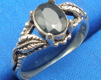 Deep Blue Sapphire Leaf Ring, Hand Crafted Recycled Sterling Silver, September birthstone