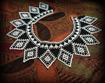 Black and White Seed Bead Collar Necklace