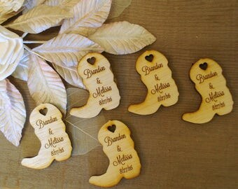 Wood Cowboy Boots Wedding Favors Personalized Set of 350