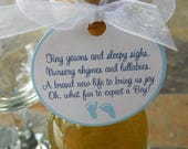 "Baby Shower 2"" Favor Tags - with Poem for Baby Boys - For Mini Wine or Champagne Bottles - Baby Feet Favors - (50) Thank You Gift Tags"