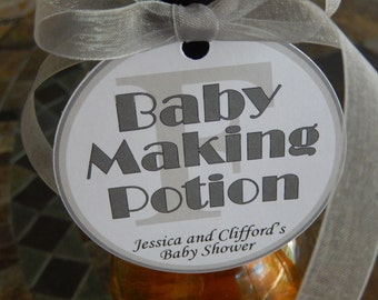 """50 Baby Shower Custom 3"""" Favor Tags - Baby Making Potion - for Wine or Champagne Bottles - Gift Favor Tags - Personalized Thank You Tags"""