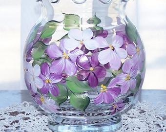 Glass ivy bowl vase Magenta pink white flowers