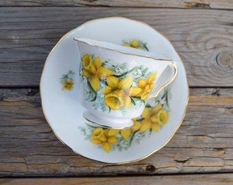 Royal Kent teacup and saucer set yellow daffodils snowdrops Staffordshire England bone china tea party Easter brunch spring decor drink ware